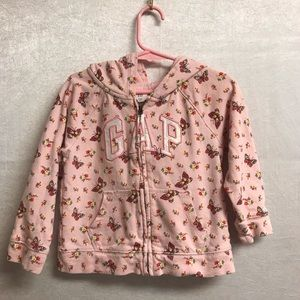 Girls Gap Pink Butterly Hoodie Size 3T
